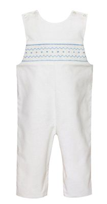 Petit Bebe Baby Boys Winter White Corduroy Longall - Smocked in Blue