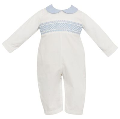 Petit Bebe Baby Boys Winter White Corduroy Romper - Smocked in Blue