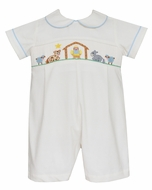 Petit Bebe Baby Boys Winter White Corduroy Smocked Nativity Manger Short Romper