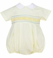 Petit Bebe Baby Boys Yellow Poplin Smocked Bubble with Collar