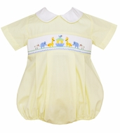 Petit Bebe Baby Boys Yellow Poplin Smocked Noah's Ark Bubble