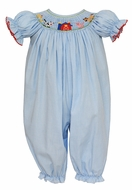 Petit Bebe Baby Girls Blue Check Smocked Farm Animals Romper