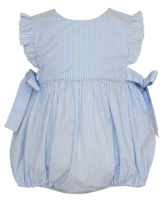Petit Bebe Baby Girls Blue Gingham Bubble with Side Bows