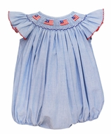 Petit Bebe Baby Girls Blue Striped Smocked Patriotic Flags Bubble