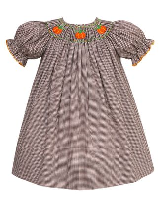 Petit Bebe Baby Girls Brown Check Smocked Orange Pumpkins Dress