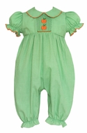Petit Bebe Baby Girls Green Gingham Smocked Orange Pumpkin Romper