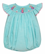 Petit Bebe Baby Girls Green Stripe Smocked Golf Bubble