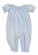 Petit Bebe Baby Girls Light Blue Corduroy Smocked Romper