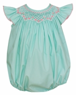 Petit Bebe Baby Girls Mint Poplin Bubble - Smocked in Pink