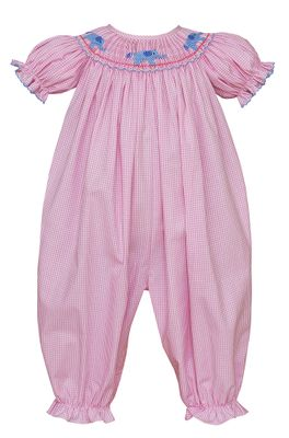 Petit Bebe Baby Girls Pink Check Smocked Elephants Romper