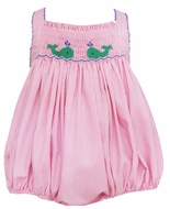 Petit Bebe Baby Girls Pink Check Smocked Green Whales Bubble