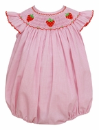 Petit Bebe Baby Girls Pink Check Smocked Strawberries Bubble