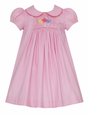 Petit Bebe Baby Girls Pink Corduroy Smocked Birthday Balloons Dress - Collar