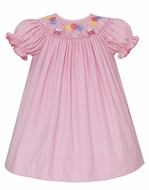 Petit Bebe Baby Girls Pink Corduroy Smocked Birthday Dress - Bishop