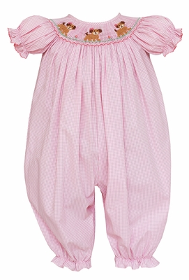 Petit Bebe Baby Girls Pink Gingham Smocked Puppy Dogs Long Bubble Romper
