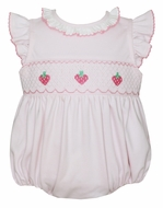 Petit Bebe Baby Girls Pink Knit Smocked Strawberries Bubble