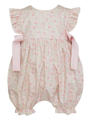 Petit Bebe Baby Girls Pink Liberty Floral Bubble with Bows