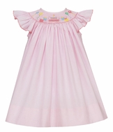 Petit Bebe Baby Girls Pink Micro Check Smocked Happy Birthday Dress - Bishop