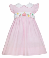 Petit Bebe Baby Girls Pink Micro Check Smocked Happy Birthday Dress with Collar