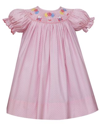 Petit Bebe Baby Girls Pink / White Dots Smocked Birthday Party Dress