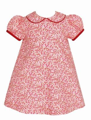 Petit Bebe Baby Girls Red / White Christmas Floral Dress