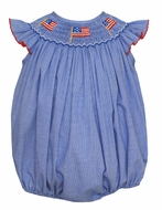 Petit Bebe Baby Girls Royal Blue Check Smocked Patriotic Flags Bubble
