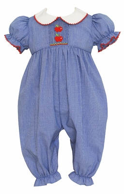 Petit Bebe Baby Girls Royal Blue Check Smocked Red Apples Romper