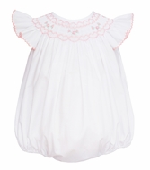 Petit Bebe Baby Girls White Poplin Angel Wing Bubble - Smocked in Pink