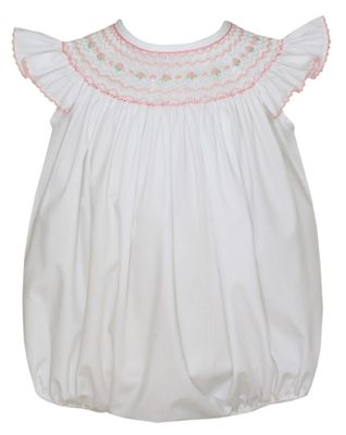 Petit Bebe Baby Girls White Poplin Bubble - Smocked in Pink