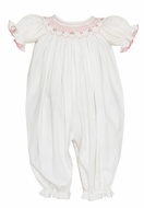 Petit Bebe Baby Girls Winter White Corduroy Long Bubble Romper - Smocked in Pink