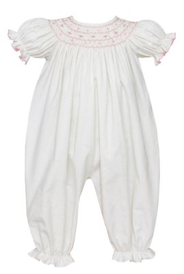 Petit Bebe Baby Girls Winter White Corduroy Romper - Smocked in Pink