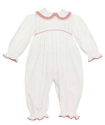Petit Bebe Baby Girls Winter White Corduroy Romper with Red Check Collar