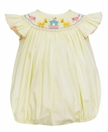 Petit Bebe Baby Girls Yellow Poplin Smocked Noah's Ark Bubble