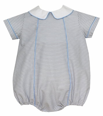 Petit Bebe Baby Gray Check Bubble with Blue Piping and Collar