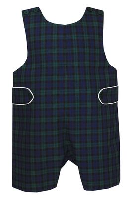 Petit Bebe Baby / Toddler Boys Blackwatch Plaid Shortall with Tabs