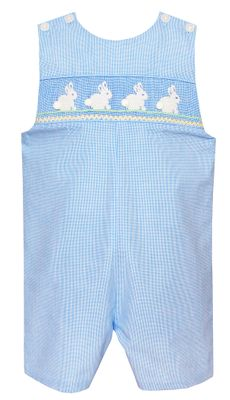 Petit Bebe Baby / Toddler Boys Blue Check Smocked Easter Bunnies Jon Jon