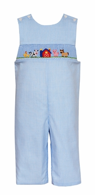 Petit Bebe Baby / Toddler Boys Blue Check Smocked Farm Animals Longall