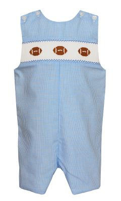 Petit Bebe Baby / Toddler Boys Blue Check Smocked Footballs Jon Jon