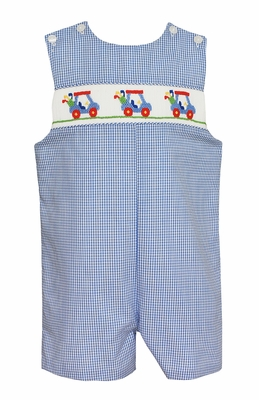 Petit Bebe Baby / Toddler Boys Blue Check Smocked Golf Carts Jon Jon