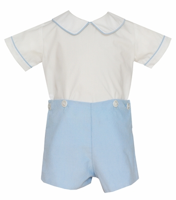 Petit Bebe Baby / Toddler Boys Blue Corduroy Button On Shorts Outfit