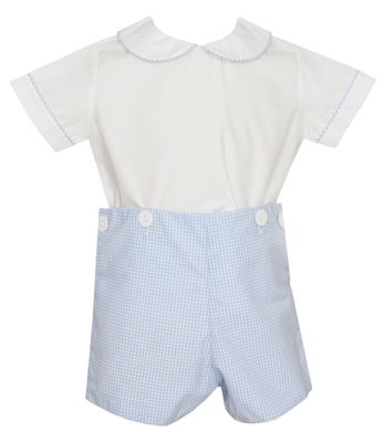 Petit Bebe Baby / Toddler Boys Blue Gingham Button On Shorts Outfit