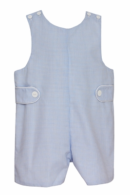 Petit Bebe Baby / Toddler Boys Blue Mini Check Jon Jon with Tabs