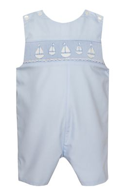 Petit Bebe Baby / Toddler Boys Blue Smocked Sailboats Jon Jon