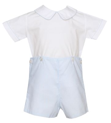 Petit Bebe Baby / Toddler Boys Blue Stripe Poplin Button On Shorts Outfit
