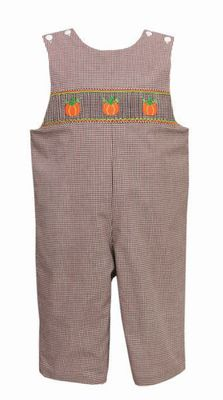 Petit Bebe Baby / Toddler Boys Brown Check Smocked Orange Pumpkins Longall