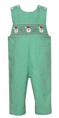 Petit Bebe Baby / Toddler Boys Green Check Smocked Santa Claus Longall