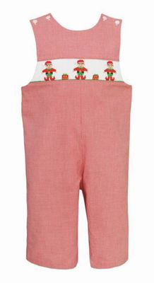 Petit Bebe Baby / Toddler Boys Red Check Smocked Christmas Elves Longall