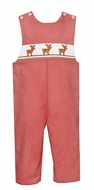 Petit Bebe Baby / Toddler Boys Red Check Smocked Christmas Reindeer Longall