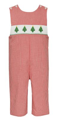 Petit Bebe Baby / Toddler Boys Red Check Smocked Christmas Trees Longall