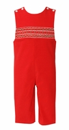 Petit Bebe Baby / Toddler Boys Red Corduroy Smocked Christmas Longall